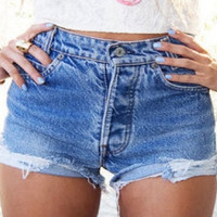 SALE Mystery Denim Shorts High Waisted:Sexy Jean Cutoffs