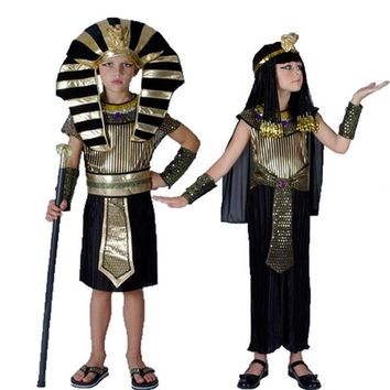 Cool Halloween Party Cleopatra Royal Dress Boys Kids Egypt Princess Costumes Cosplay Egyptian pharaoh Children's DayAT_93_12