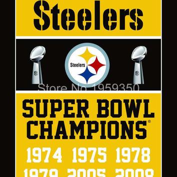 Pittsburgh Steelers Super Bowl Champions Polyester  flag 100D polyester