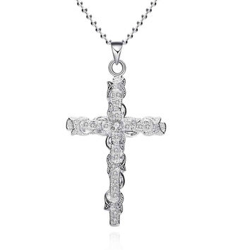 silver plated Chain Odd-shaped Insets Cross Necklaces Pendants Men jewelry 359 MP