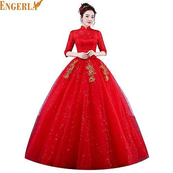 2017 New Arrival Muslim High Neck Wedding Dress Half Sleeve Lace Lace Up Ball Gown Princess Long Wedding Gown  Robe De Mariee