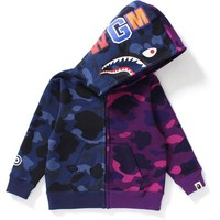 COLOR CAMO HALF & HALF SHARK ZIP HOODIE KIDS