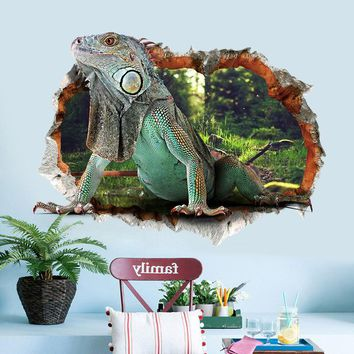 3D lizard reptile iguana animal wall sticker fake window decal for kids room