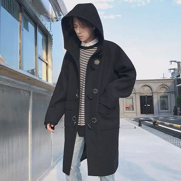 2017 Winter Clothes Men Long Outerwear Woolen Overcoat Loose Trench Cashmere Coat Wool Blends Windbreaker Casual Hooded Jacket