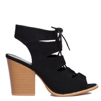 Black Suede Cut Out Peep Toe Heeled Ankle Booties