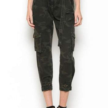Camo Paperbag High-Rise Jeans by Hidden Jeans