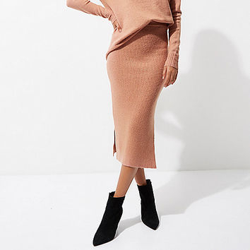 Pink rib knit side split midi skirt - Midi Skirts - Skirts - women
