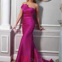 2014 New Styles Trumpet/Mermaid Strapless Satin Fuchsia Plus Size Prom Dress/Evening Gowns With Ruffles VTC611