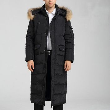 Size S--10XL Men's Down Coat Winter Long Down Jacket Coat With Fur Trim Hooded Men Down Jacket