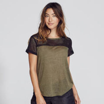Women's S/S Colorblock Crew Neck Tee - Kmart