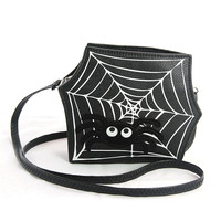 Cute Little Spooky Itsy Bitsy Spider Web Crossbody Bag Purse