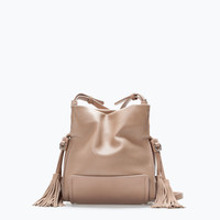 Tasselled mini bucket bag