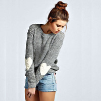 Gray Heart Pattern Elbow Long Sleeve Sweater