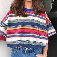 Vintage Striped Oversized Tee