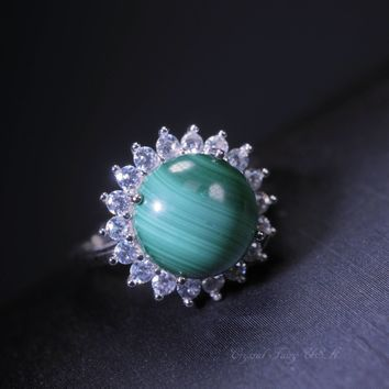 Green Malachite Ring, Sterling Silver Solitaire Green Stone Ring, Adjustable Anniversary Engagement Ring, 10mm Natural Malachite Jewelry