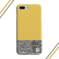 Promise Yellow x Grey Marble Two Toned Phone Case, iPhone 7, iPhone 7 Plus, Tough iPhone Case, Galaxy S7, Samsung Galaxy Case, CASE ESCAPE