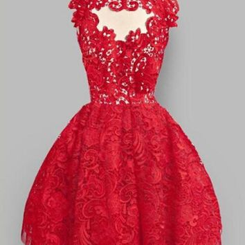 Red Plain Lace Pleated Puffy Sweet Homecoming Party Mini Dress