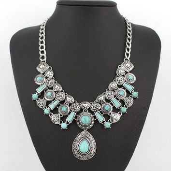 Bohemian Summer Jewelry Vintage Silver Gold Plated Chain Big Blue Turquoise Water Drop Statement Necklaces & Pendants for Women