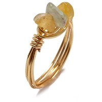 Wire Wrapped Stone Rings - Triple Multicolor Stones