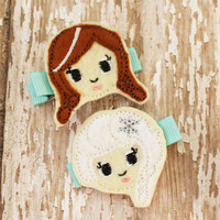 Elsa and Anna Hairclips, Felt Embroidered Hairbow, Hair Clippie, Felt Hair Clip, Frozen Hair Clip, Toddler Hairclip, Girls Hairclip