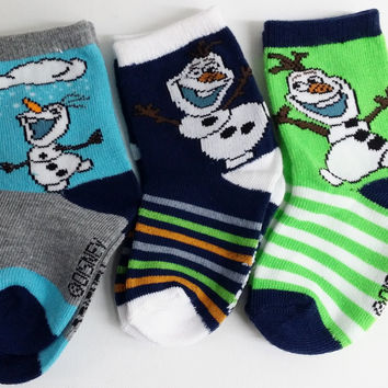 Kids Girls Boys Disney FROZEN Olaf Snowman 2 pack striped socks