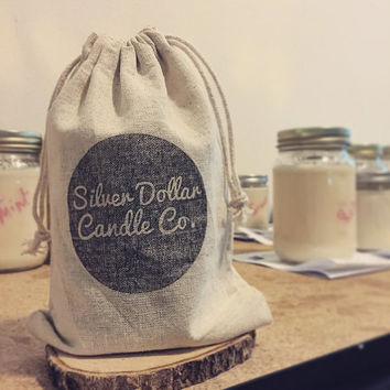 100% Cotton Hand Stamped Gift Bag | Silver Dollar Candle Co. Gift Wrap