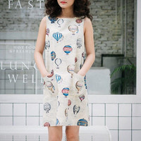Women A Line Dress Sleeveless Dress Loose Dress Hot Air Balloon Dress in Khaki Front Pockets Dress Holiday Summer Dress Cotton Canvas Dress