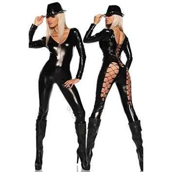 Wonder beauty PVC Faux Leather Wet Look Catsuit Rompers Lace Up Steampunk Costume Vinyl Sexy Hollow Out Club Jumpsuit Costume