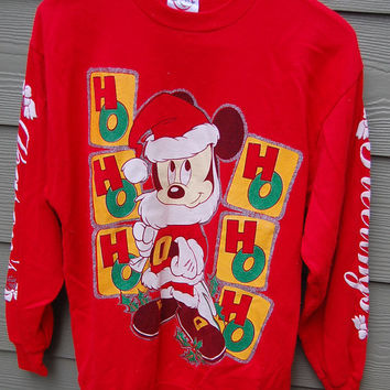 Vintage Walt Disney Red Mickey Mouse Tacky Christmas Xmas Ho Ho Ho Ha Ha Ha Sweatshirt Size Medium