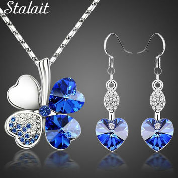 Hot sale lucky Silver Color clovers necklace Austrian crystal from Swarovski necklace earring jewelry set free shipping 9554