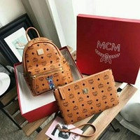 MCM Women Leather Bookbag Shoulder Bag Backpack+Handbag