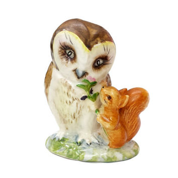 Vintage Beatrix Potter Old Mr. Brown Owl and Squirrel Figurine, Beswick England BP3B, The Tale of Squirrel Nutkins Character Collectibles