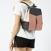 Black and Pink Formal Zip Front Backpack