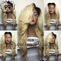 Freeshipping UPS Ombre two-tone color 100% human hair ombre lace wigs brazilian human hair Glueless full lace wig & Lace front wig