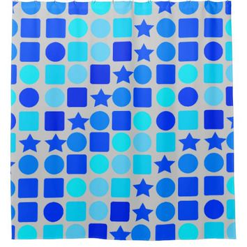 Blue Stars, Circles 'n' Squares Shower Curtain