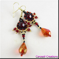 Red Crystal Drop Seed Beaded Chandelier Dangle Beadwork Earrings