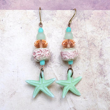 Pastel pink green Starfish earrings Artisan Ceramic earring Czech glass beads Beach organic unusual Jewelry