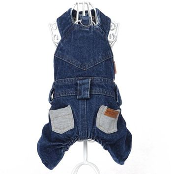 Cute Dog pet cat denim overall Coat jumpsuit wedding party clothes dog Puppy denim Dress Skirt pet dog poodle Lover clothing