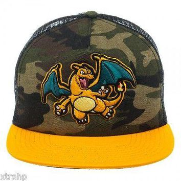 Authentic Pokemon Charizard Camo Trucker Snapback Adult Hat Cap Licensed