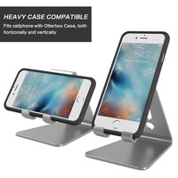 [Updated Solid Version] OMOTON Desktop Cell Phone Stand Tablet Stand, Advanced 4mm Thickness Aluminum Stand Holder for Mobile Phone (All Size) and Tablet (Up to 10.1 inch), Grey