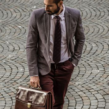 Bartolo-Classic 3 Compartment Briefcase Attaché Case-Chestnut