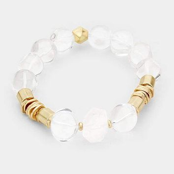 Lucite Ball Metal Bead Stretch Bracelet