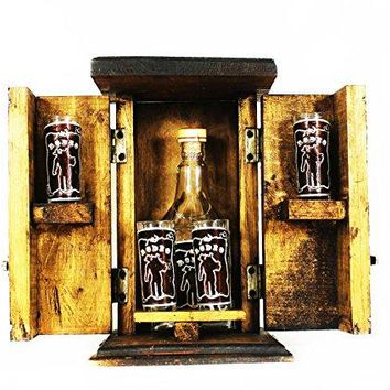 Mextouch Rodeo Cantina Set Bar With Bottle Decanter and 4 Tequila Shoot Glasses with Metallic Hand Made Ornaments
