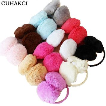 CUHAKCI Women Earmuffs Adult Winter Ear Warmer New Teenage Headband Fur Round Ear Muffs Teenage Student Girl Hot Sale