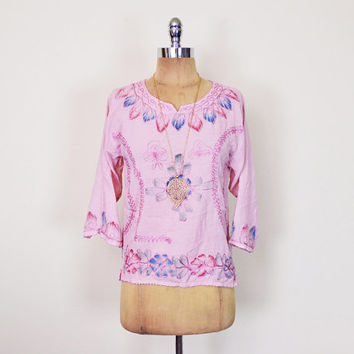 Vintage 90s 70s Pink India Shirt India Tunic India Blouse India Top India Embroider Blouse Embroider Top Hippie Top Boho Top XS Extra Small