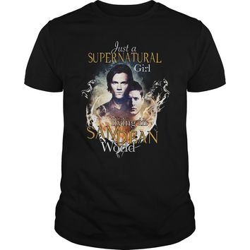 Just a Supernatural girl living in sadean world shirt Premium Fitted Guys Tee
