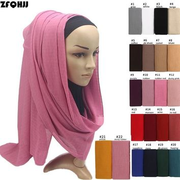 ZFQHJJ Women Bubble Chiffon Pleated Crinkle Plain Scarf Shawl Pashmina Wraps Arab Islamic Muslim Hijab Head Scarf Bandanas