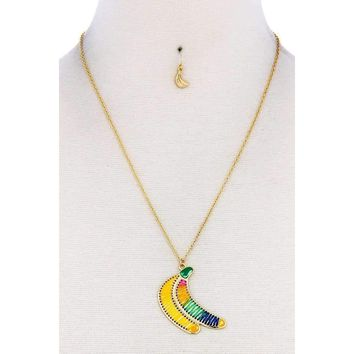Fashion Stitch Banana Pendant Necklace And Earring Set