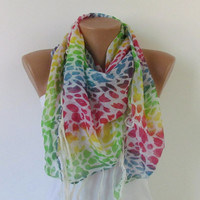 On Sale. RAINBOW SCARF with fringe. Triangle Shawl Scarf. For 4 seasons. For her. Valentine's Shawl. White and colorful.