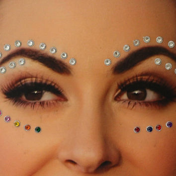 70 Stick On Face Gems,Glitter Face Festival Jewels Sticker,Body Art Accessory,Colored Dot Studs,Festival Gems Bindi/Belly Dance Body Gems